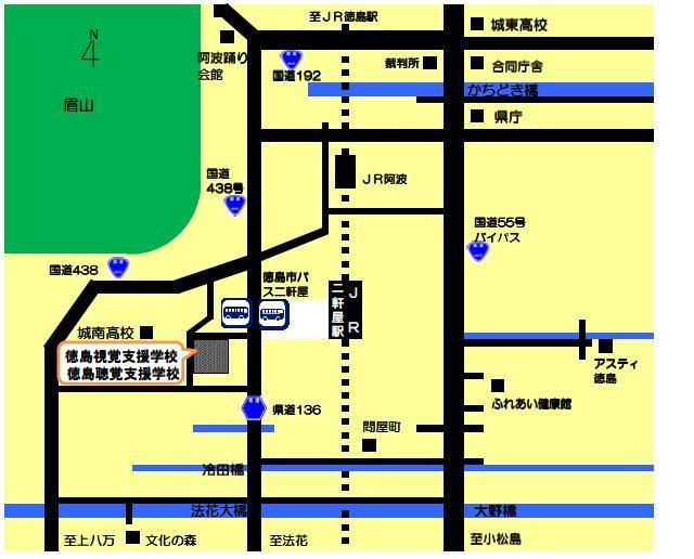 聴覚支援学校までの地図
