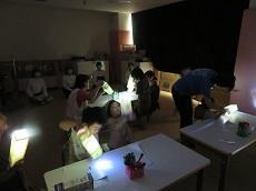 子ども達が完成した牛乳パックのプラネタリウムに懐中電灯を差し込み、光を当てて模様を壁や天井に映している