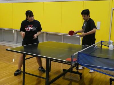 卓球外部講師 練習の様子1