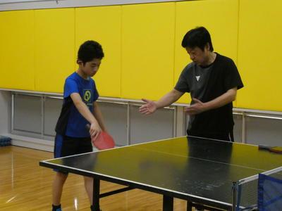 卓球外部講師 練習の様子2